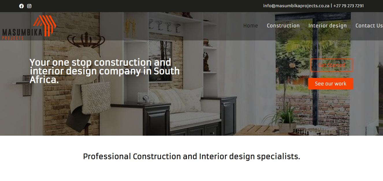 Masumbika Projects business website designed by Digitechbolt