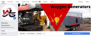 Waygen Generators Facebook page set up