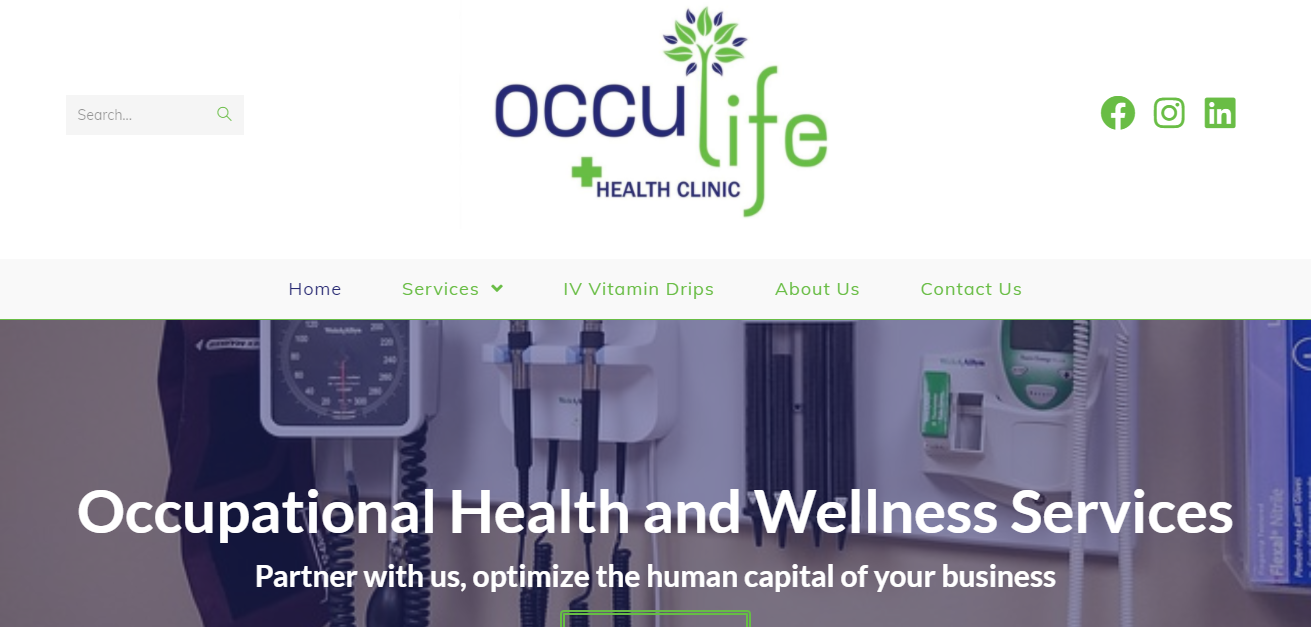 Occulife Health Clinic website designed by Digitechbolt